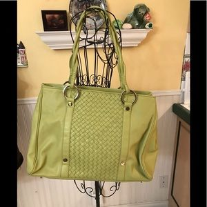 Sondra Roberts Chartreuse Basketweave bag